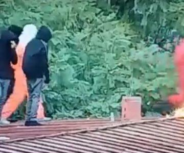 Captan el momento en que joven resulta quemado al intentar lanzar una molotov en el Instituto Nacional